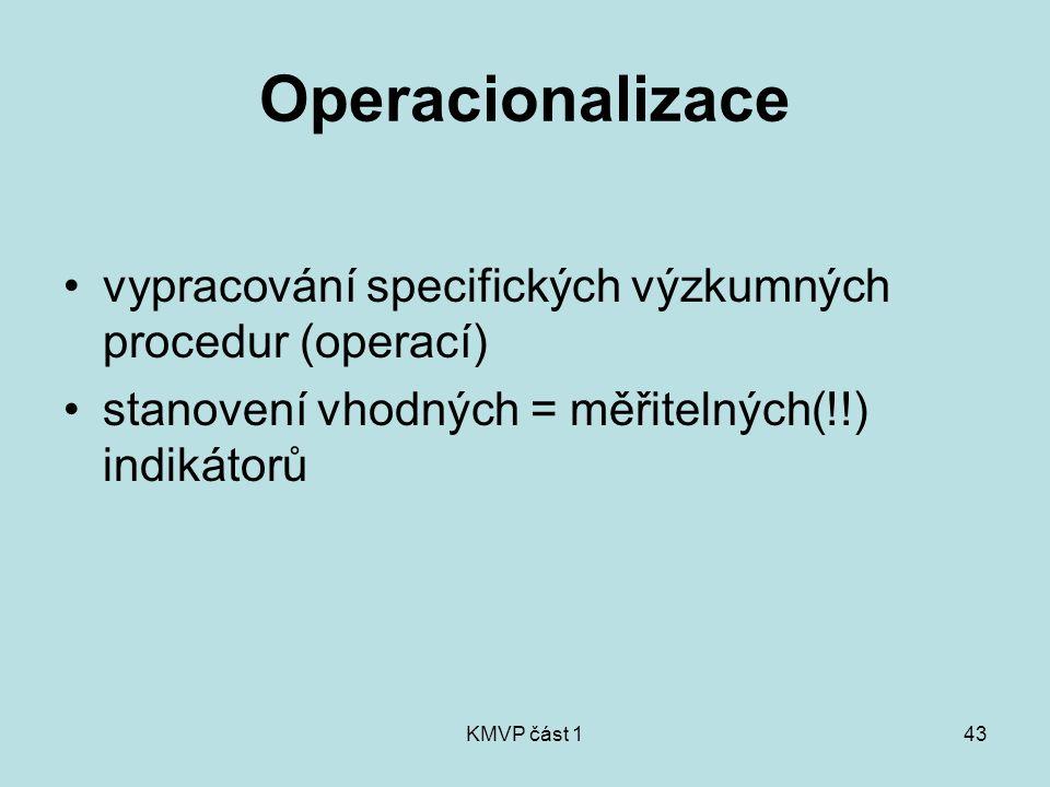 Operacionalizace vypracování specifických výzkumných procedur (operací) stanovení vhodných = měřitelných(!!) indikátorů.