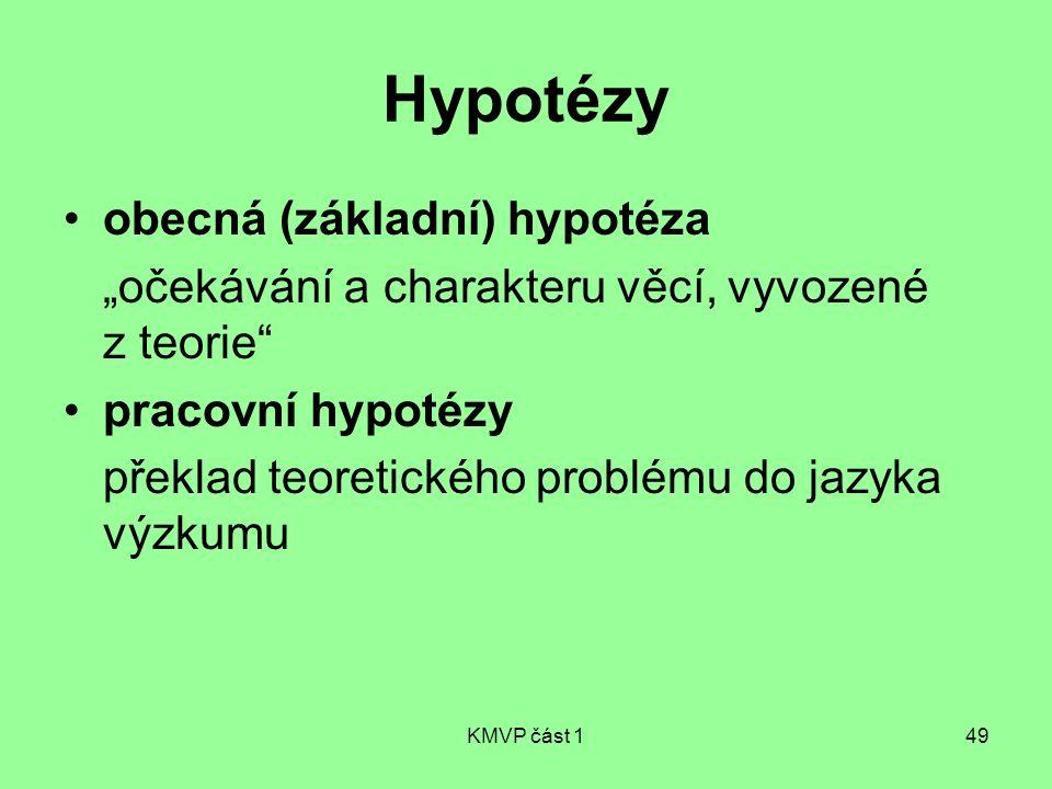Hypotézy obecná (základní) hypotéza