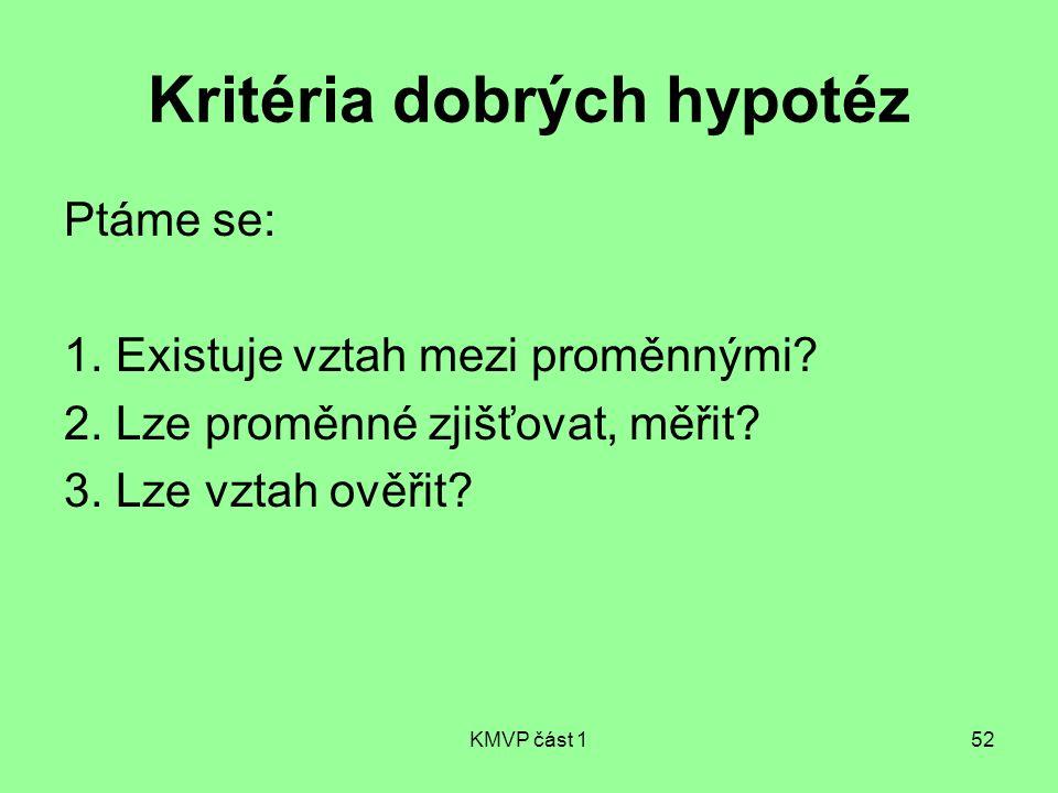 Kritéria dobrých hypotéz