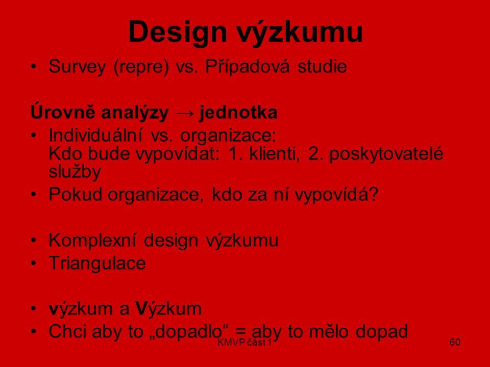Design výzkumu Survey (repre) vs. Případová studie