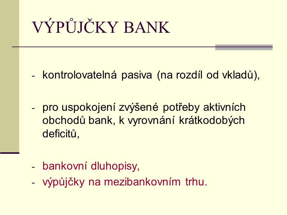 VÝPŮJČKY BANK kontrolovatelná pasiva (na rozdíl od vkladů),