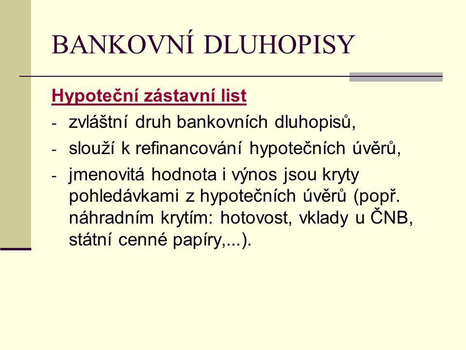 BANKOVNÍ DLUHOPISY Hypoteční zástavní list