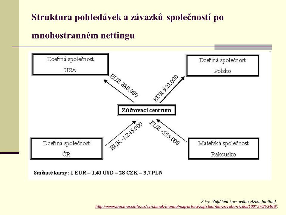 Struktura pohledávek a závazků společností po mnohostranném nettingu