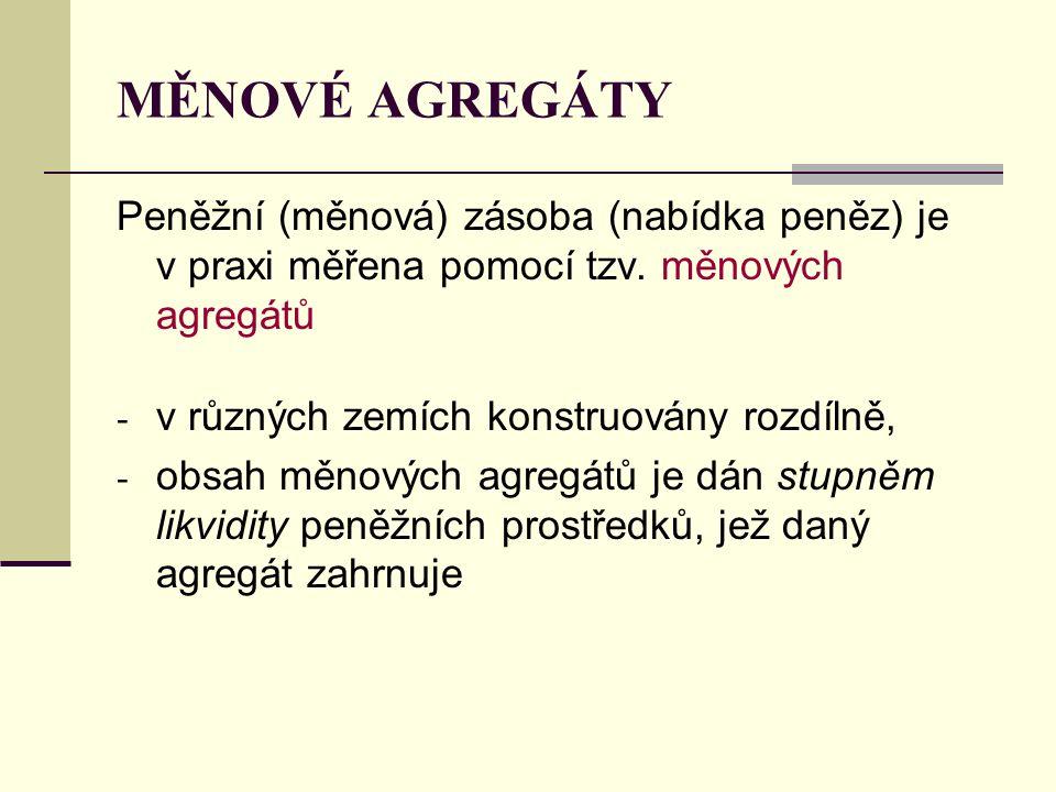 MĚNOVÉ AGREGÁTY Peněžní (měnová) zásoba (nabídka peněz) je v praxi měřena pomocí tzv. měnových agregátů.