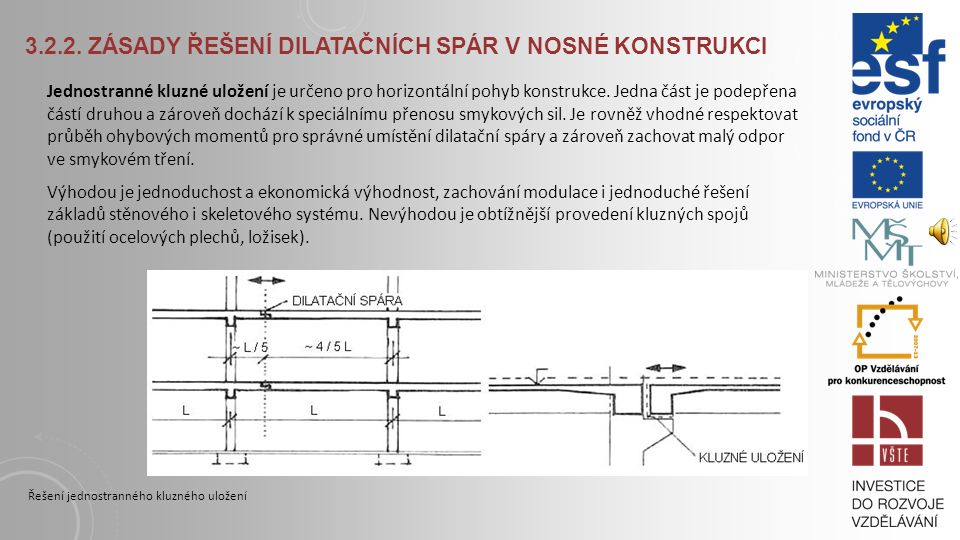 3.2.2. Zásady řešení dilatačních spár v nosné konstrukci