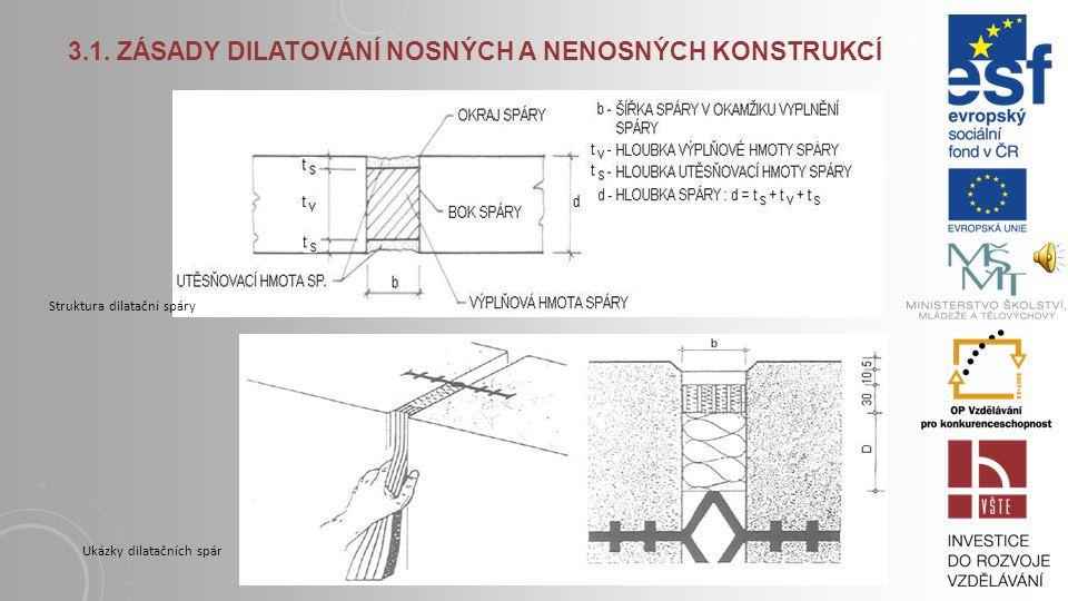 3.1. Zásady dilatování nosných a nenosných konstrukcí