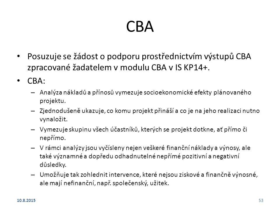 CBA Posuzuje se žádost o podporu prostřednictvím výstupů CBA zpracované žadatelem v modulu CBA v IS KP14+.