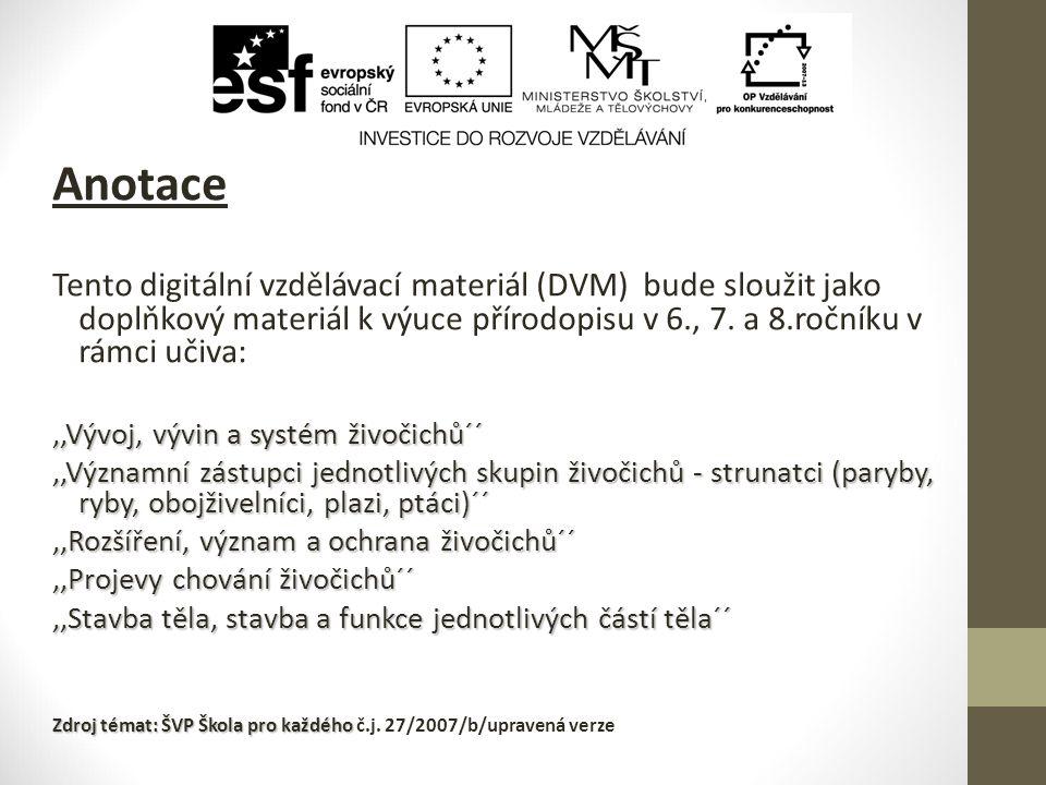 Anotace Tento digitální vzdělávací materiál (DVM) bude sloužit jako doplňkový materiál k výuce přírodopisu v 6., 7. a 8.ročníku v rámci učiva: