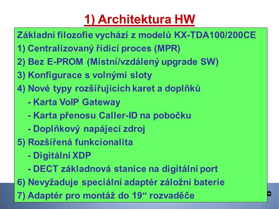 1) Architektura HW Základní filozofie vychází z modelů KX-TDA100/200CE