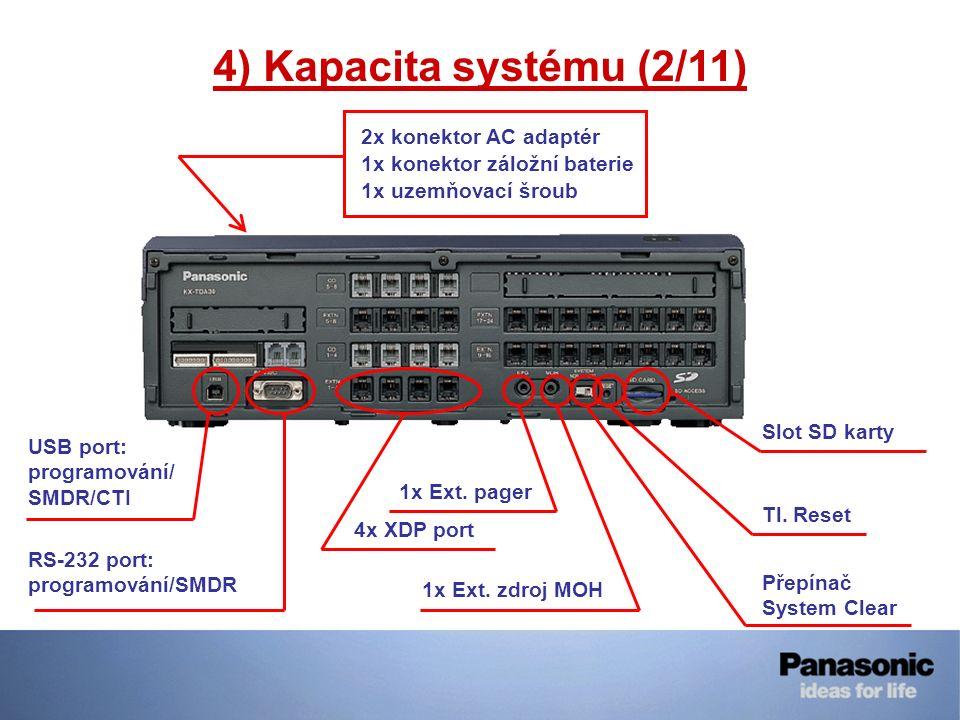 4) Kapacita systému (2/11) 2x konektor AC adaptér