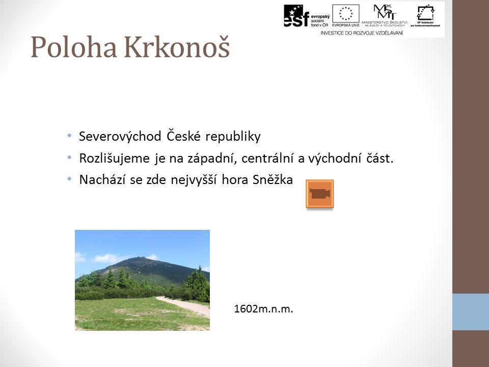 Poloha Krkonoš Severovýchod České republiky