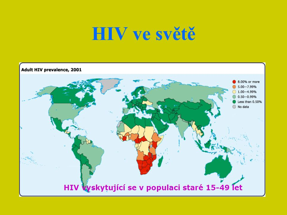HIV vyskytující se v populaci staré 15-49 let