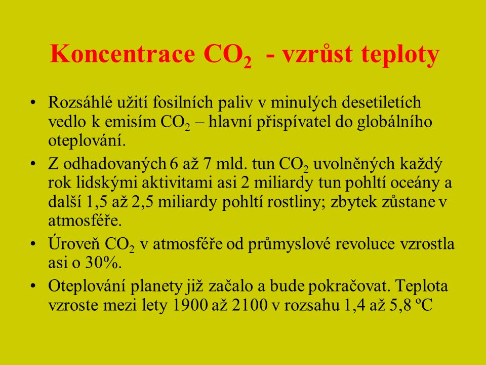 Koncentrace CO2 - vzrůst teploty