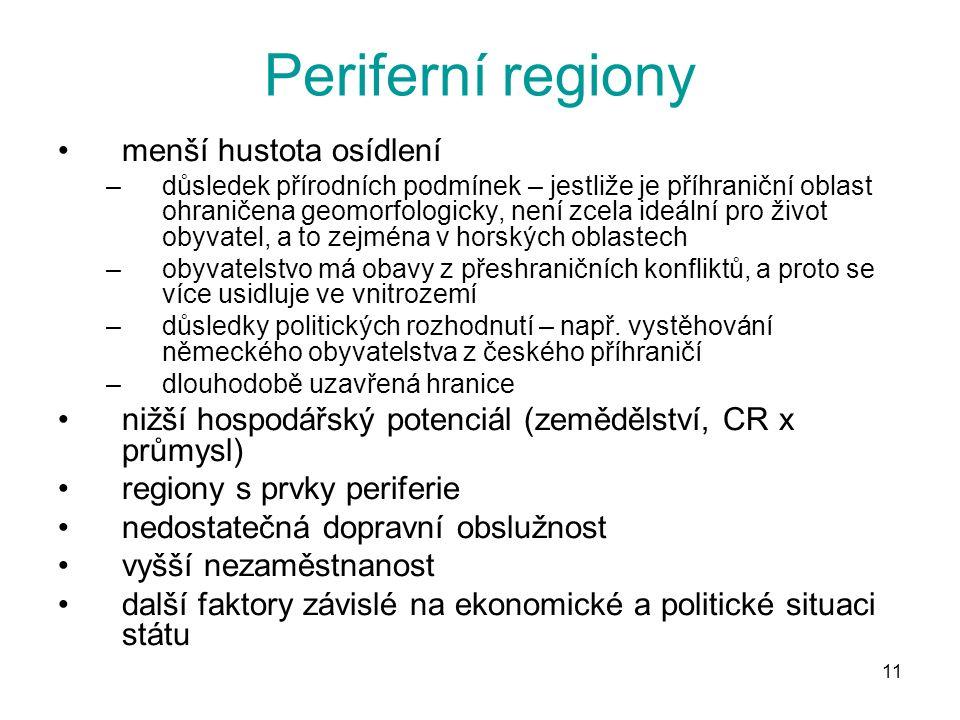 Periferní regiony menší hustota osídlení