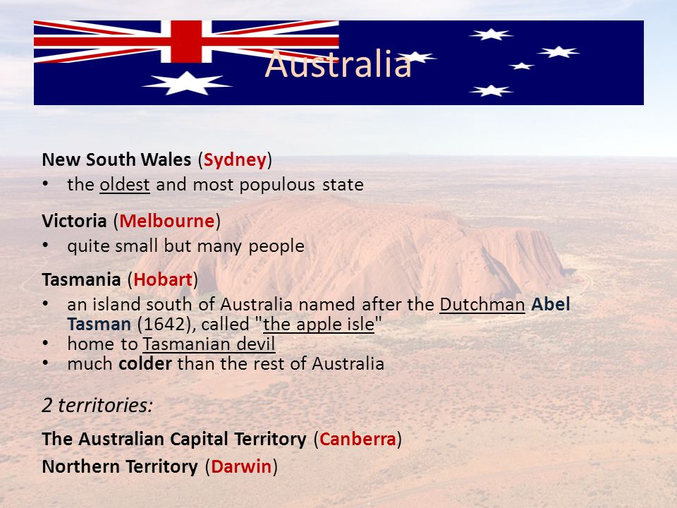 Australia 2 territories: New South Wales (Sydney)