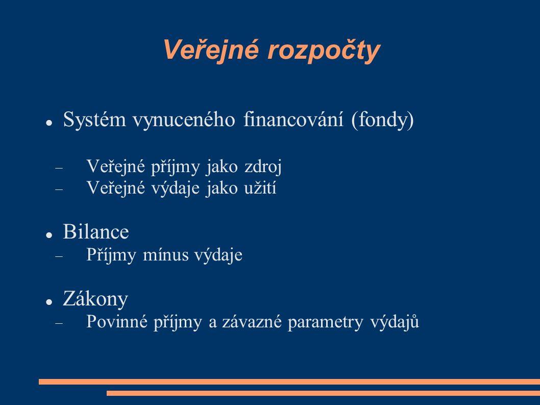 Veřejné rozpočty Systém vynuceného financování (fondy) Bilance Zákony
