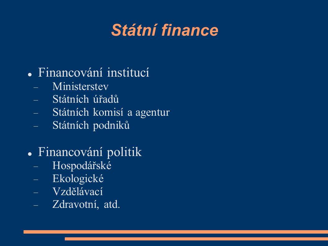 Státní finance Financování institucí Financování politik Ministerstev