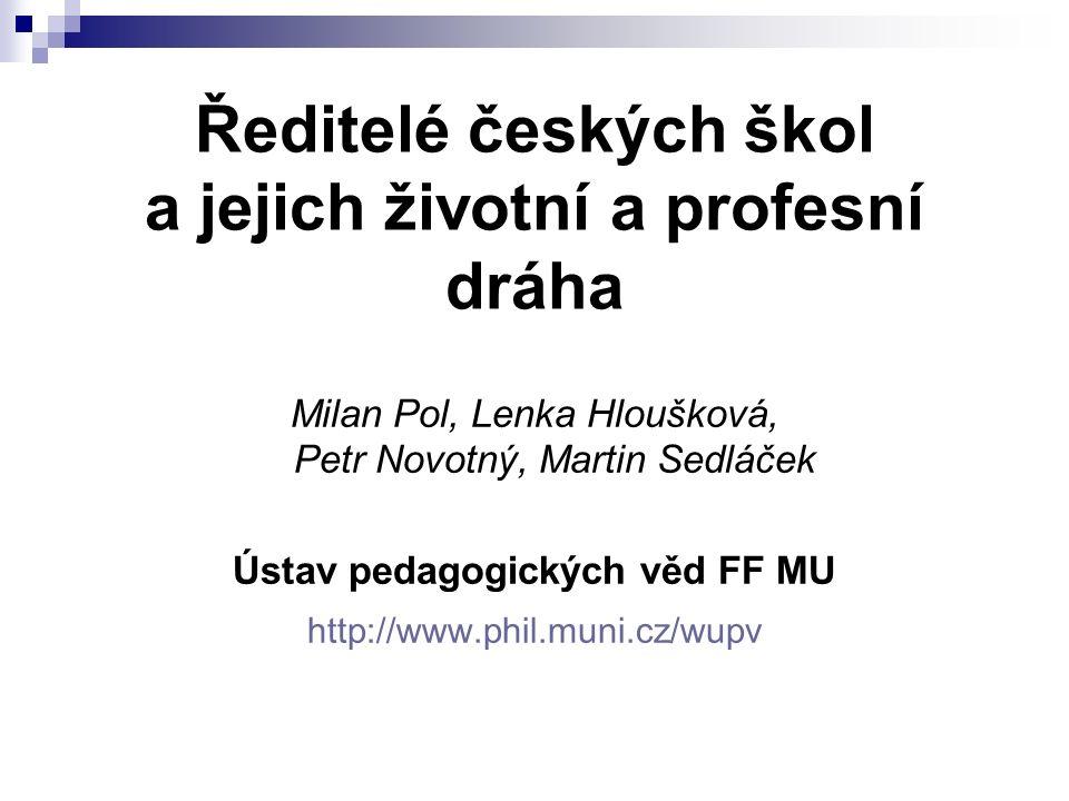 Ředitelé českých škol a jejich životní a profesní dráha
