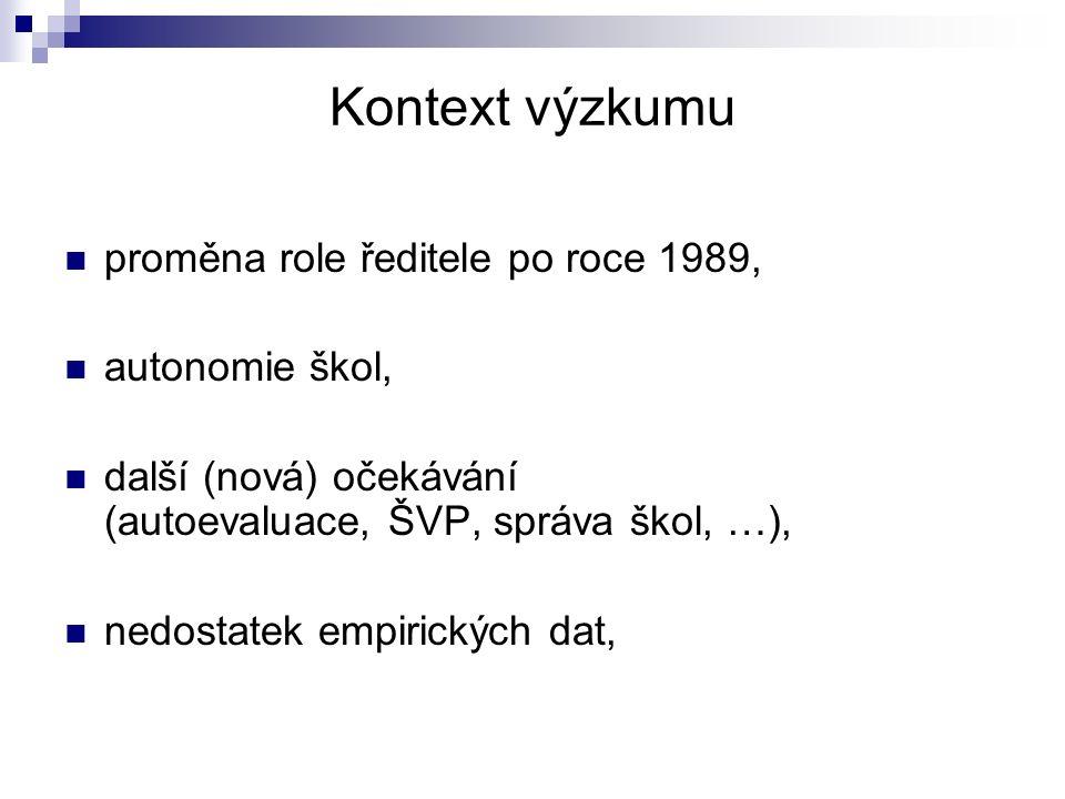 Kontext výzkumu proměna role ředitele po roce 1989, autonomie škol,