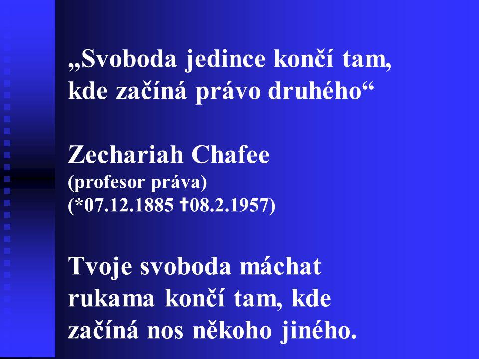 """""""Svoboda jedince končí tam, kde začíná právo druhého Zechariah Chafee"""