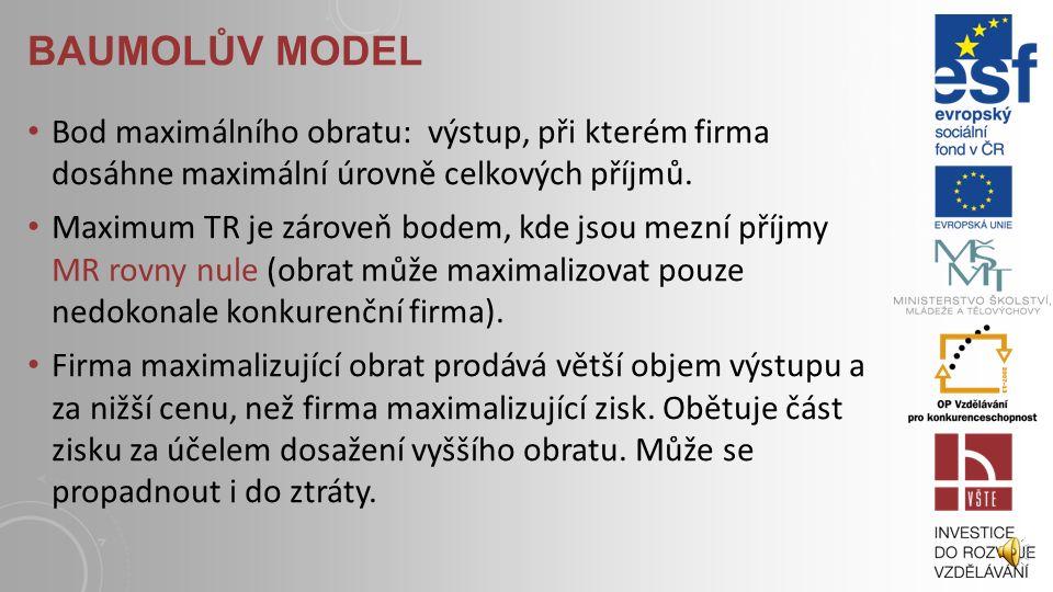 BAUMOLŮV MODEL Bod maximálního obratu: výstup, při kterém firma dosáhne maximální úrovně celkových příjmů.