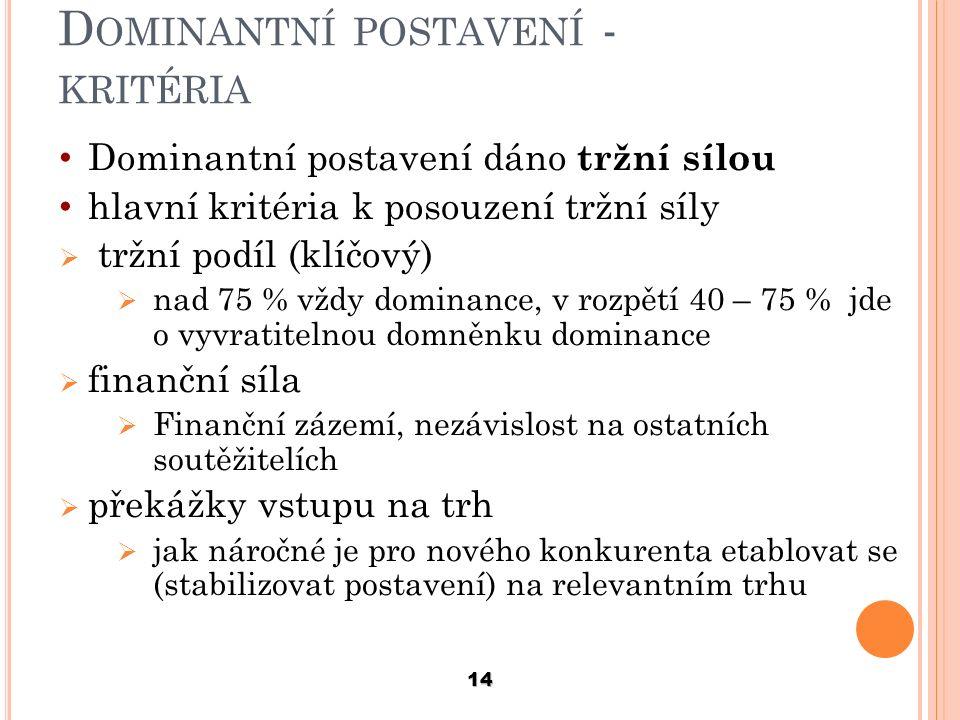 Dominantní postavení - kritéria