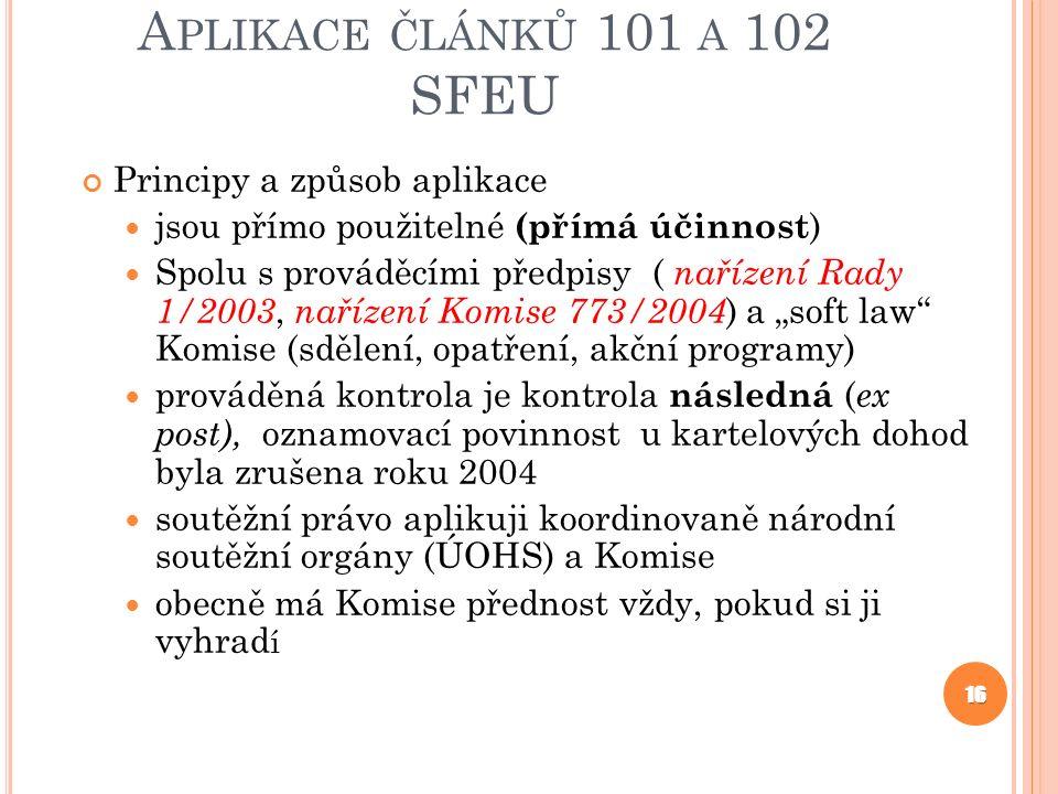 Aplikace článků 101 a 102 SFEU Principy a způsob aplikace