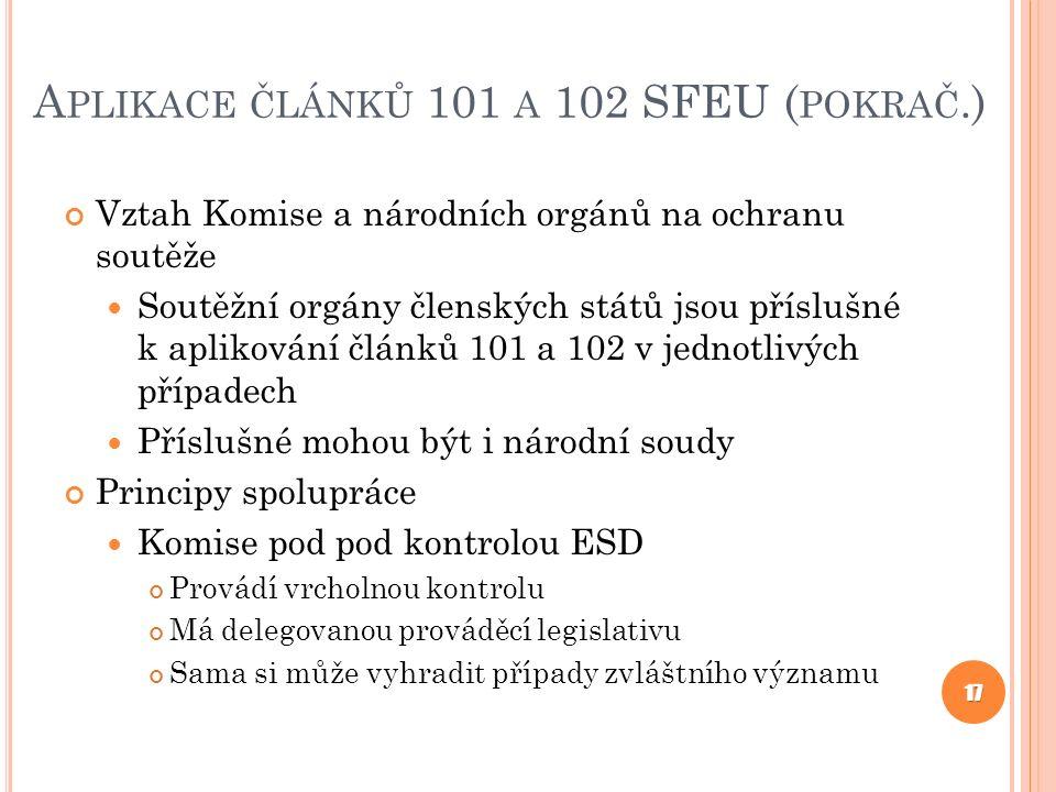 Aplikace článků 101 a 102 SFEU (pokrač.)