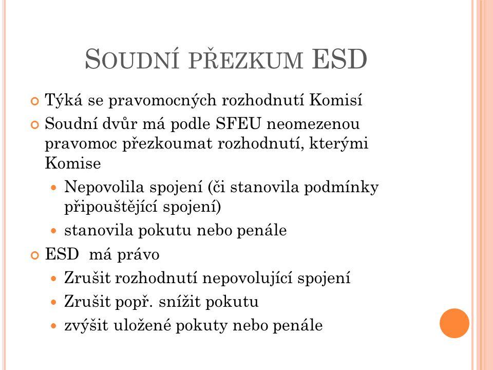 Soudní přezkum ESD Týká se pravomocných rozhodnutí Komisí