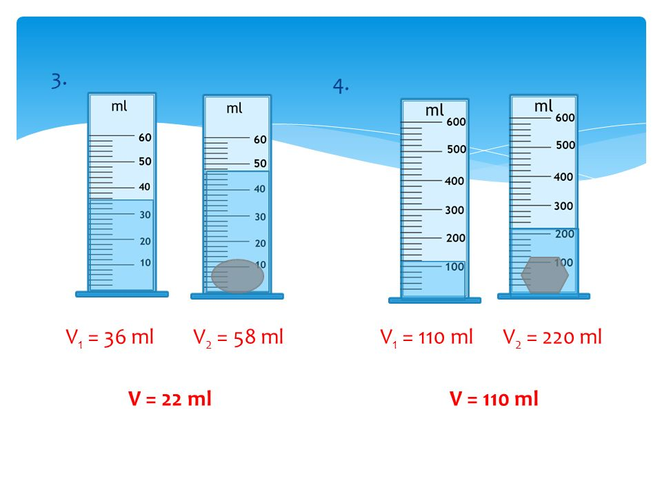 3. 4. V1 = 36 ml V2 = 58 ml V1 = 110 ml V2 = 220 ml V = 22 ml V = 110 ml