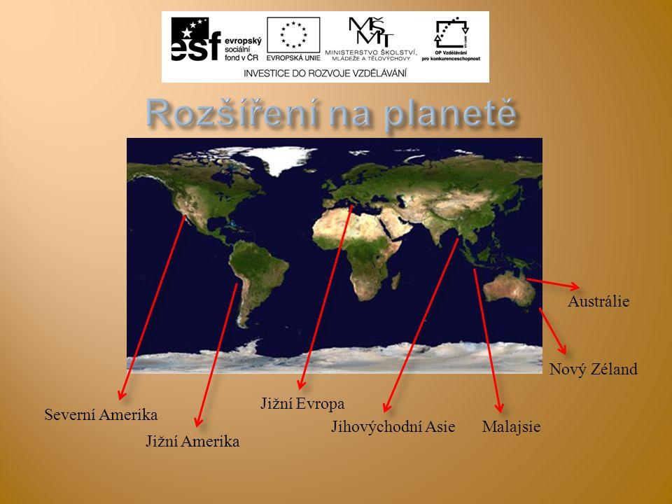 Rozšíření na planetě Austrálie Nový Zéland Jižní Evropa
