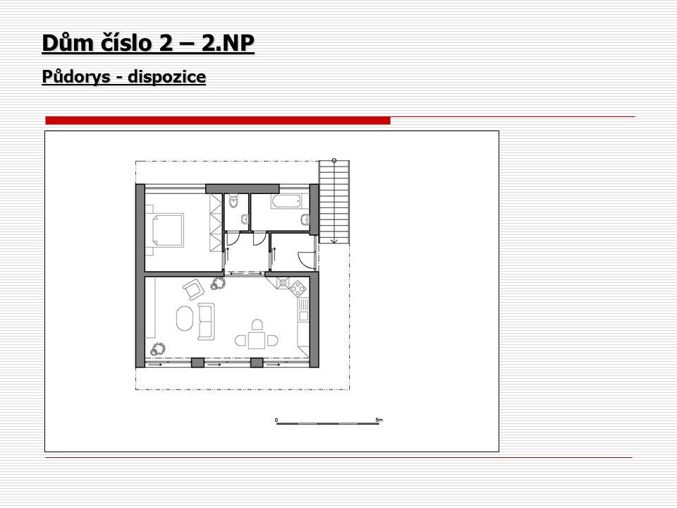 Dům číslo 2 – 2.NP Půdorys - dispozice