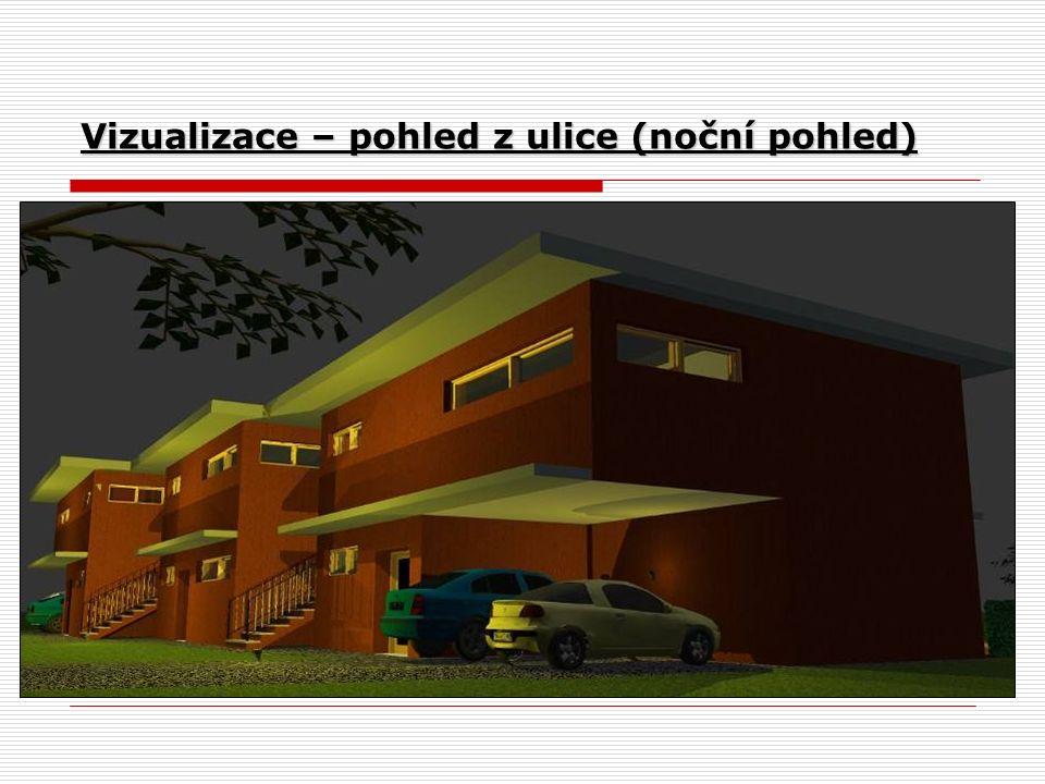 Vizualizace – pohled z ulice (noční pohled)