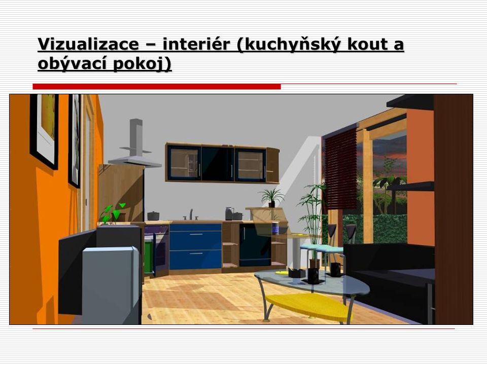 Vizualizace – interiér (kuchyňský kout a obývací pokoj)