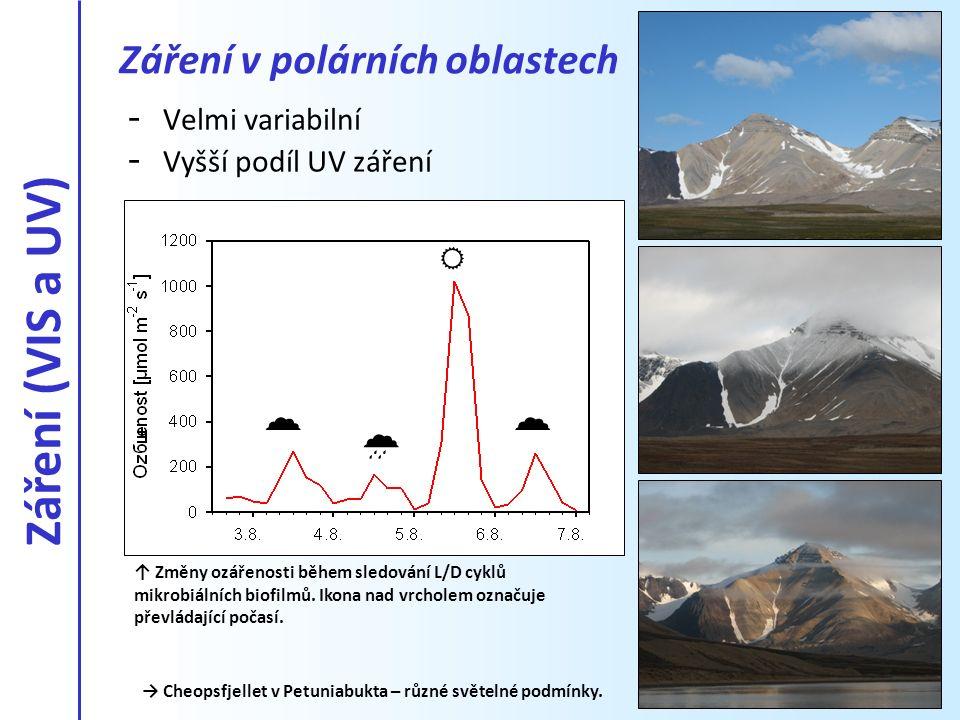 Záření (VIS a UV)    Záření v polárních oblastech Velmi variabilní