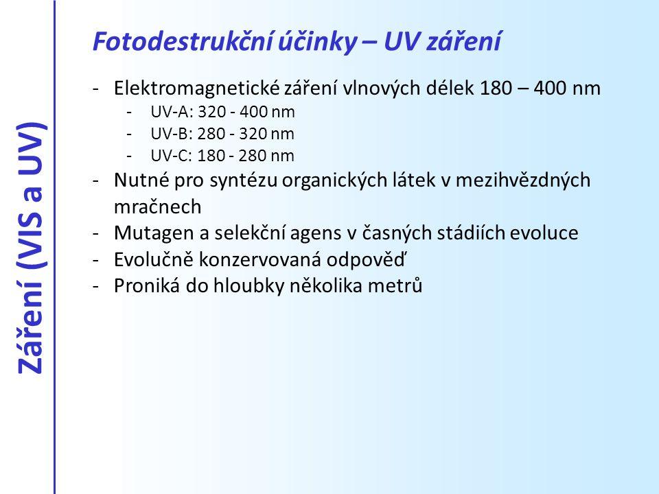 Záření (VIS a UV) Fotodestrukční účinky – UV záření