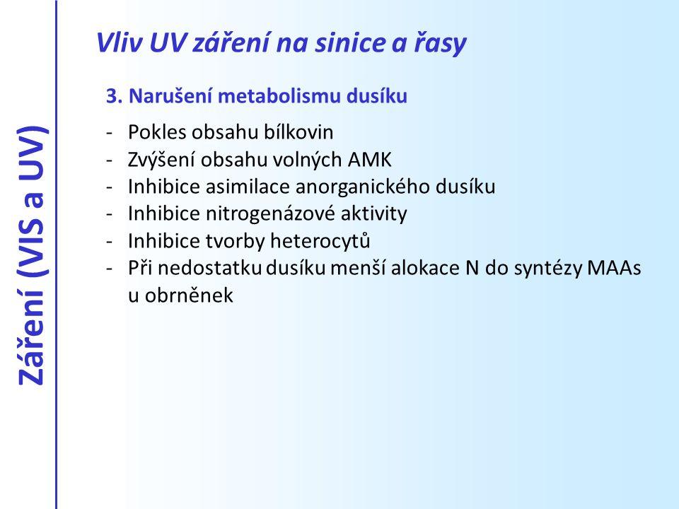 Záření (VIS a UV) Vliv UV záření na sinice a řasy
