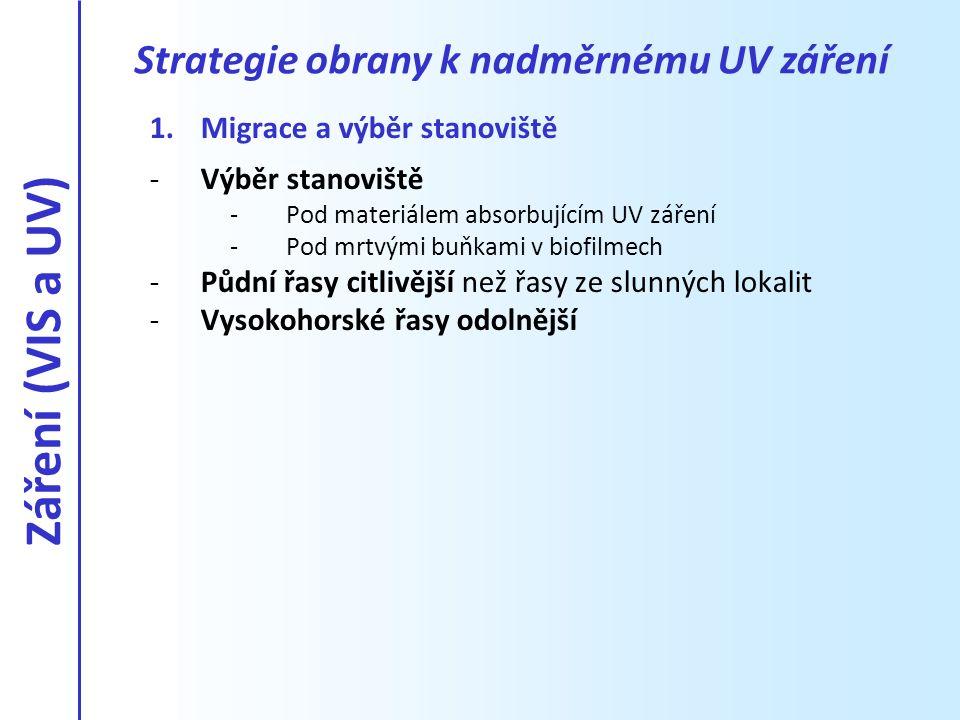 Záření (VIS a UV) Strategie obrany k nadměrnému UV záření