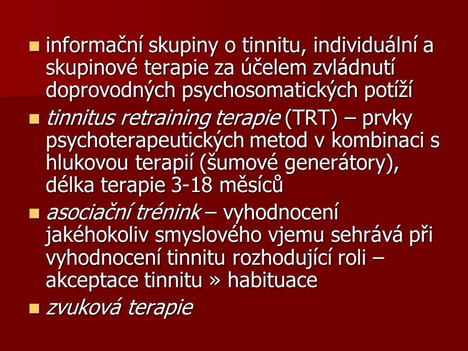 informační skupiny o tinnitu, individuální a skupinové terapie za účelem zvládnutí doprovodných psychosomatických potíží