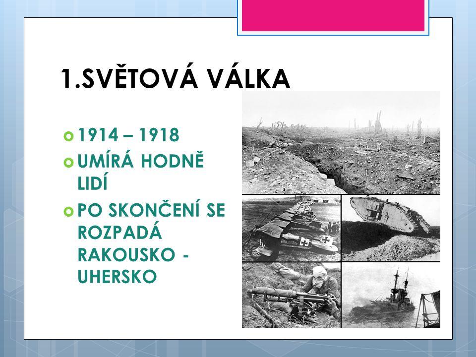1.SVĚTOVÁ VÁLKA 1914 – 1918 UMÍRÁ HODNĚ LIDÍ