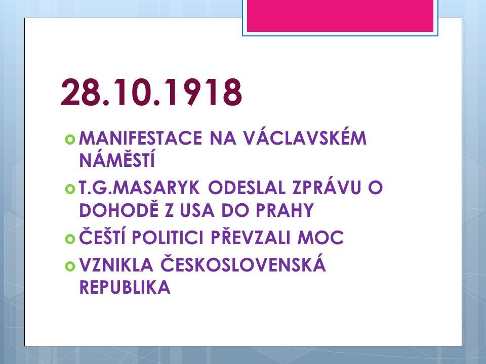 28.10.1918 MANIFESTACE NA VÁCLAVSKÉM NÁMĚSTÍ