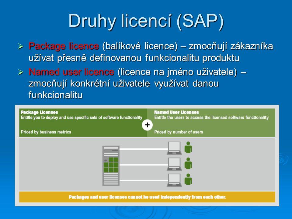 Druhy licencí (SAP) Package licence (balíkové licence) – zmocňují zákazníka užívat přesně definovanou funkcionalitu produktu.
