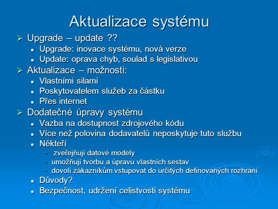 Aktualizace systému Upgrade – update Aktualizace – možnosti: