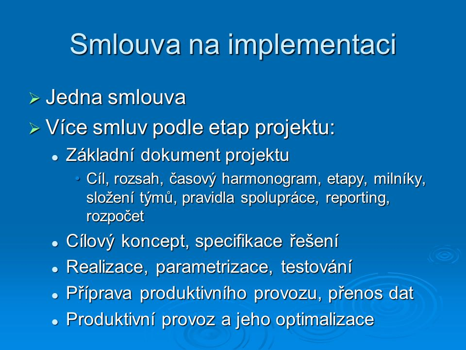 Smlouva na implementaci