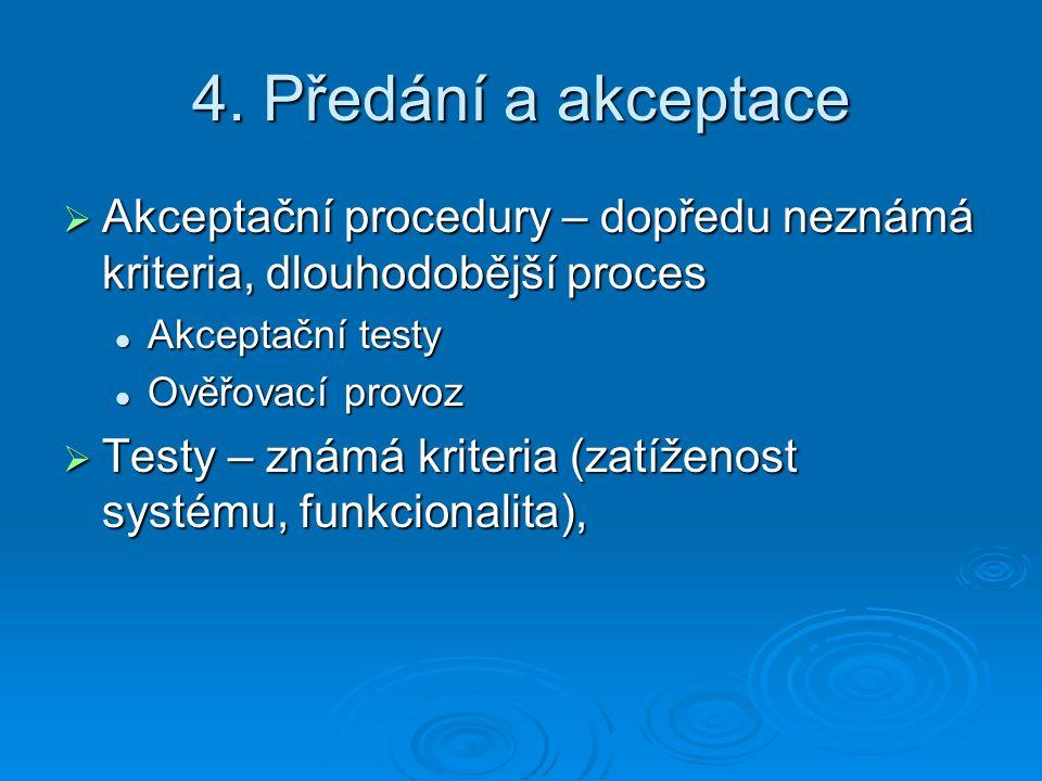 4. Předání a akceptace Akceptační procedury – dopředu neznámá kriteria, dlouhodobější proces. Akceptační testy.