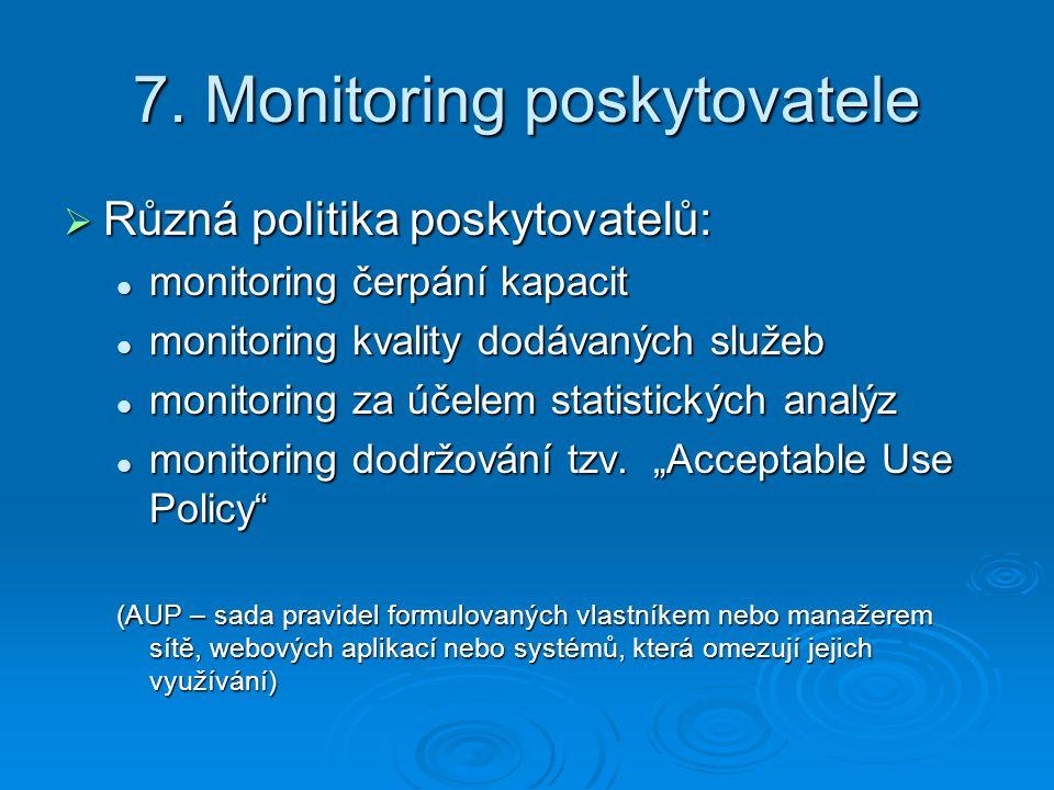 7. Monitoring poskytovatele