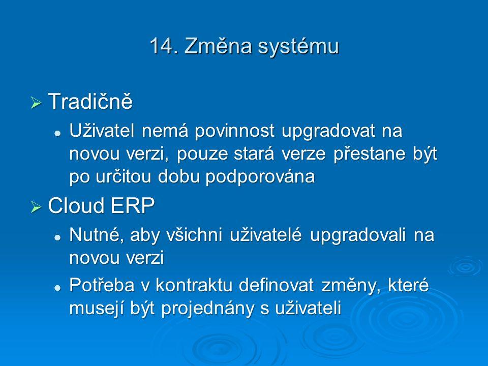 14. Změna systému Tradičně Cloud ERP