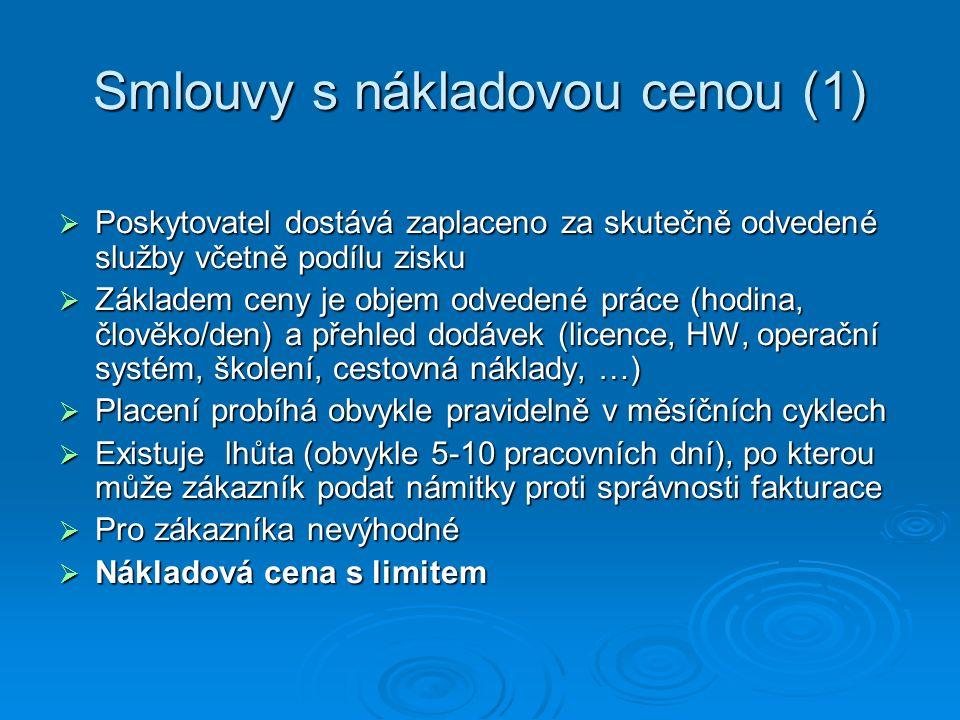 Smlouvy s nákladovou cenou (1)