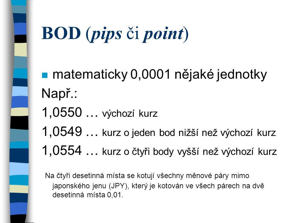 BOD (pips či point) matematicky 0,0001 nějaké jednotky Např.: