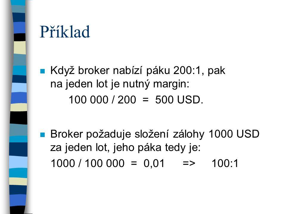 Příklad Když broker nabízí páku 200:1, pak na jeden lot je nutný margin: 100 000 / 200 = 500 USD.